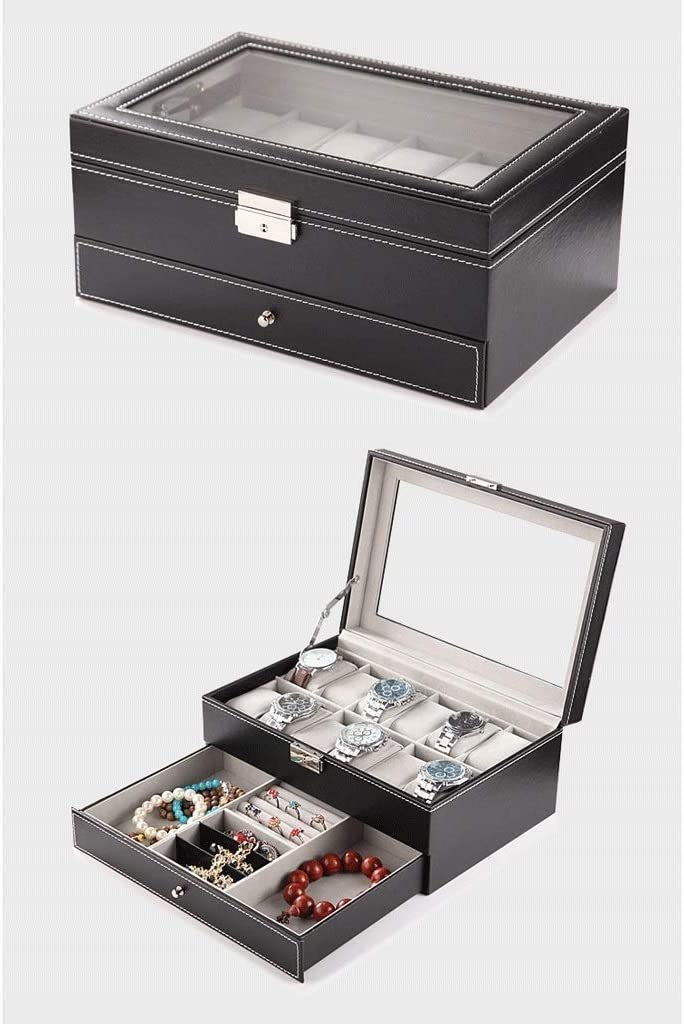 Watch Box- Watch Box Jewelry Organizer Storage Case with Glass Top, Ring Gift Storage Box Organizer (Color : Black)