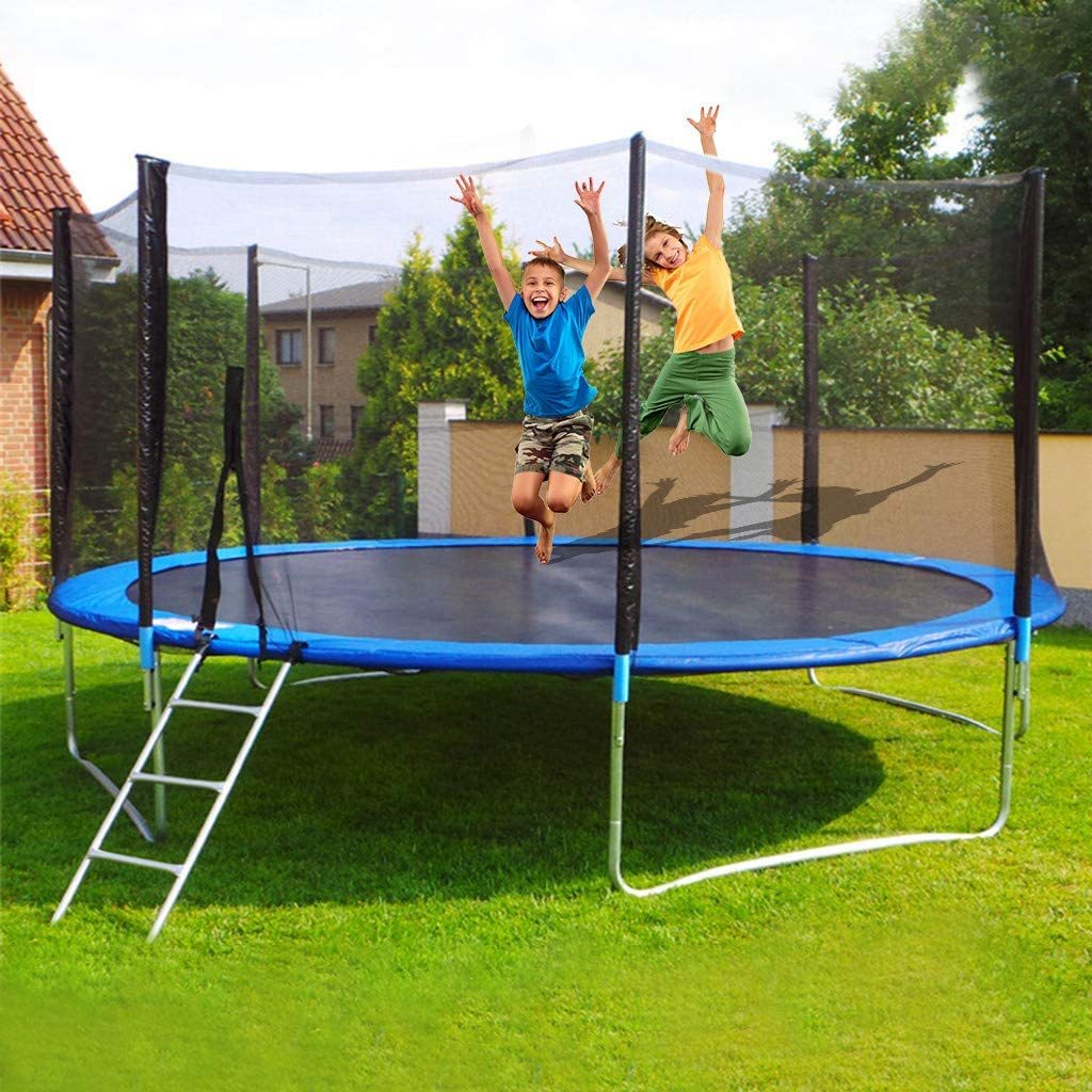 12 FT Trampoline Combo Bounce Jump Outdoor Trampoline for Family School Entertainment with/Safety Enclosure Net Spring Pad Ladder