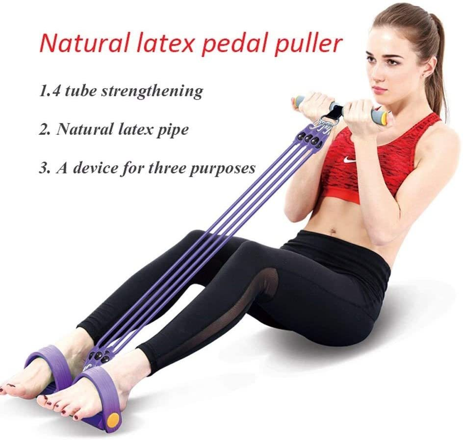 Tubes Natural Latex Foot Pedal Elastic Pull Rope with Handle Fitness Equipment Bodybuilding Expander for Abdomen/Waist/Arm/Leg Stretching Slimming Training