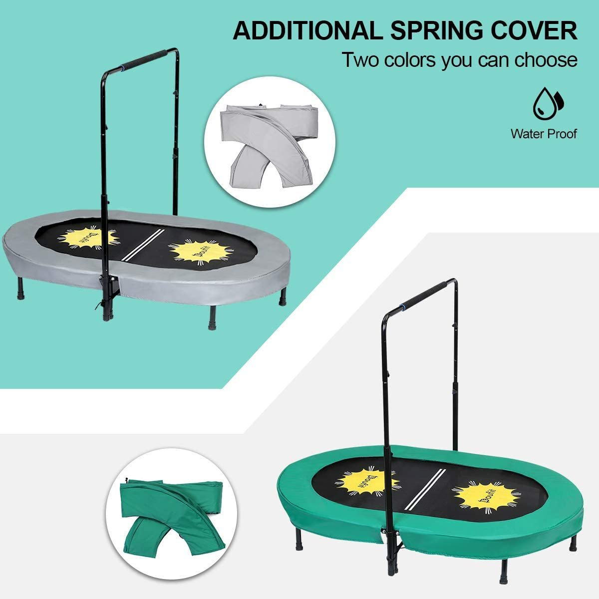 Trampoline for Kids and Adults with Adjustable Handle, TR-01 Double Jumping Fitness Rebounder Foldable Trampoline for Indoor and Outdoor Exercise with Additional Spring Pad