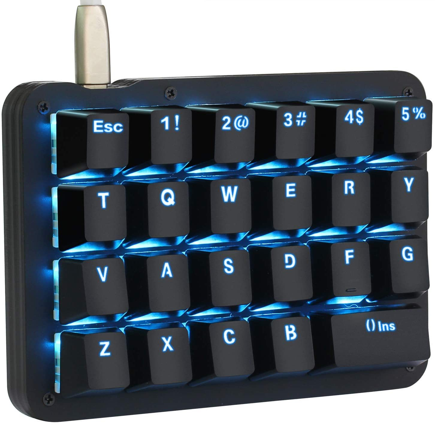 One Handed Macro Mechanical Keyboard, Blue LED Backlit Portable Mini One-Handed Mechanical Gaming Keypad 23 Fully Programmable Keys Red Switches (Blue Backlit/Red switches)
