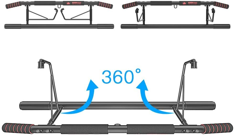 Multi-Gym Chin-Up/Pull-Up Bar, Heavy Duty Doorway Trainer for Home Portable Gym No Need to Assemble - Angled Grip Help Protect Wrists