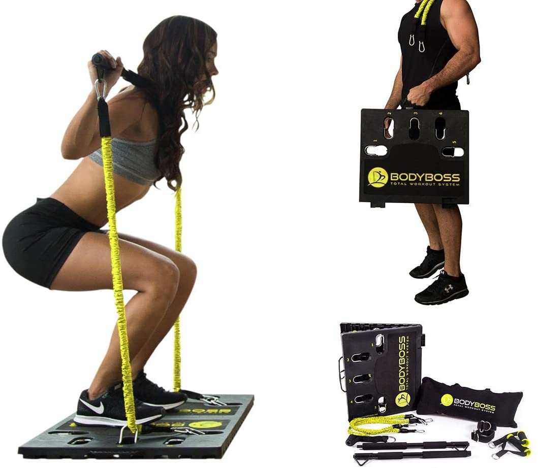 2.0 - Full Portable Home Gym Workout Package + Resistance Bands - Collapsible Resistance Bar, Handles - Full Body Workouts for Home, Travel or Outside