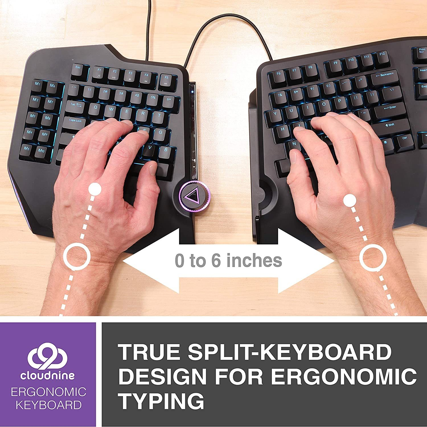 Cloud Nine C989M Ergonomic Mechanical Keyboard - Cherry MX Brown Switches - RGB Light Up LED Backlit with USB - Ergo Split Key Board with Macro for PC