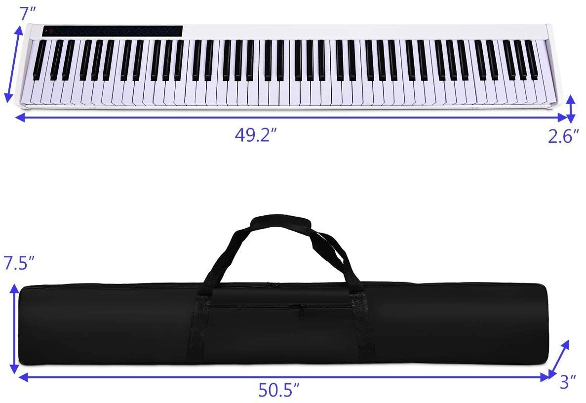 88-Key Portable Digital Piano,Touch Sensitive Knocking Force Key Piano with External Speaker, Bluetooth Voice Function, MIDI Keyboard, Sustain Pedal, Power Supply and a Black Handbag (White)