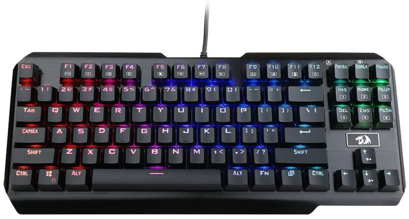 Gaming Keyboard, USAS, 87 Keys, Tenkeyless, Compact Steel Construction with Arrow Keys & Cherry MX Blue Switches for Windows PC Gamer (RGB LED Backlit)