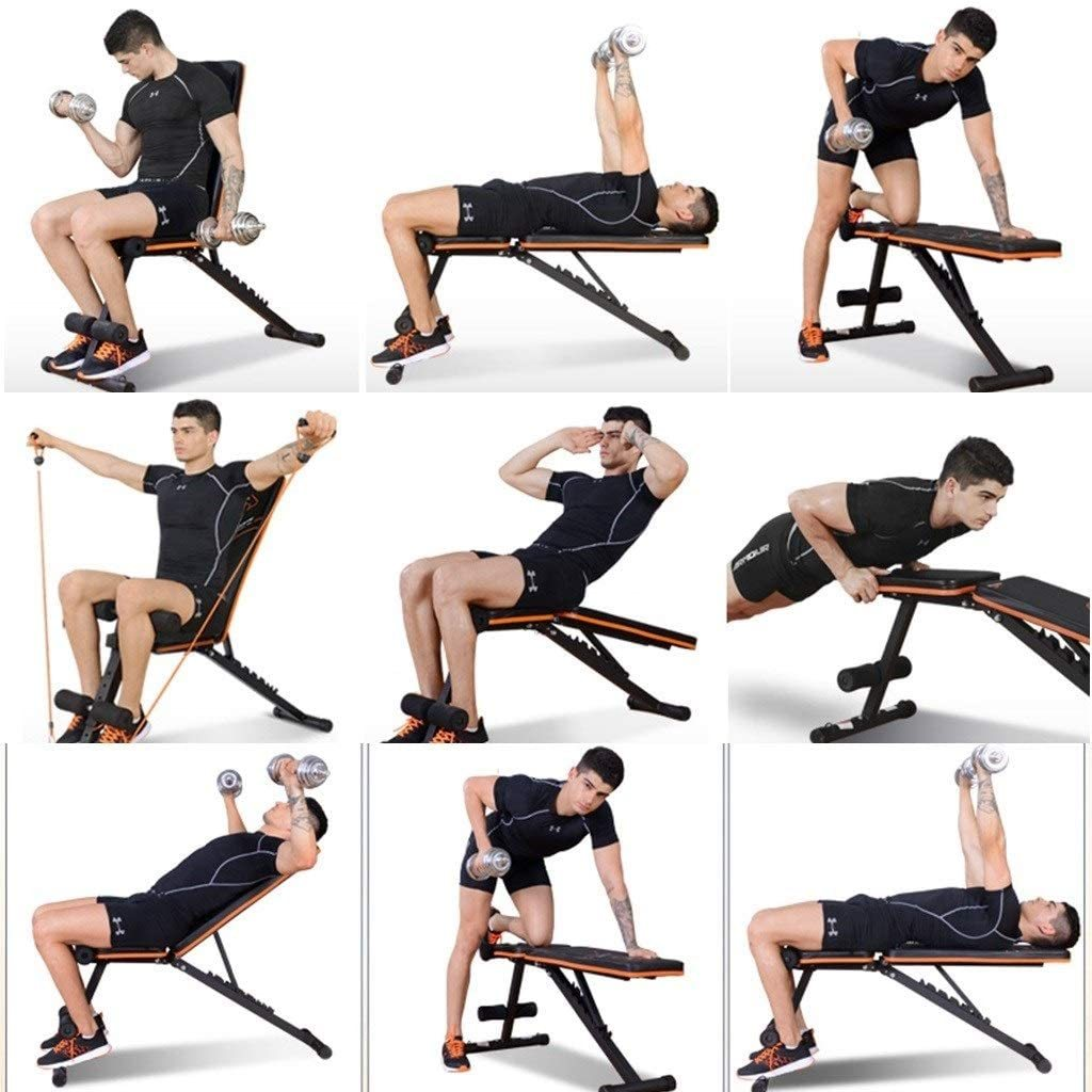 Dumbbell Stool Sit-up Sit Home Multifunctional Abdominal Device Supine Board Muscle-Shaping Folding Dumbbell Stool Strong Weight Bearing (Color : Black, Size : 1125055cm)