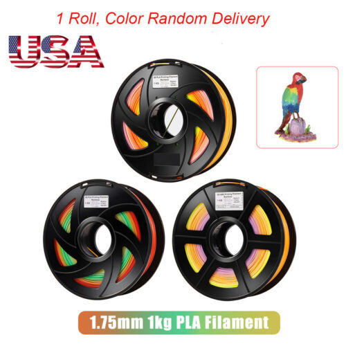 5pcs 1.75mm PLA 3D Printer Filament Color Changing Rainbow Multicolor 1kg F5F3
