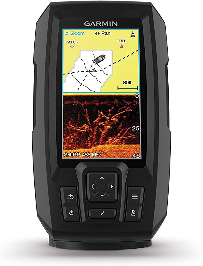 "Garmin Striker 4cv with Transducer, 4"" GPS Fishfinder with CHIRP Traditional and ClearVu Scanning Sonar Transducer and Built In Quickdraw Contours Mapping Software"