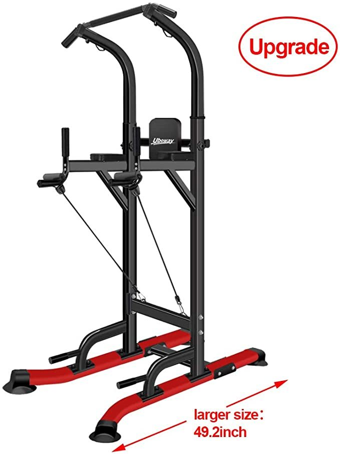 UBOWAY Power Tower -Pull Up Bar Stand &Dip Station Adjustable Height Heavy Duty with Sit up Bench Multi-Function Fitness Training Equipment Home Gym