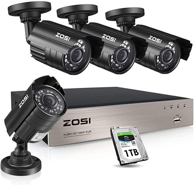ZOSI 1080P Security Camera System with 1TB Hard Drive H.265+ 8CH Full 1080P HD Video DVR Recorder with 4X HD 1920TVL 1080P Indoor Outdoor Weatherproof CCTV Cameras ,Motion Alert,Remote Access
