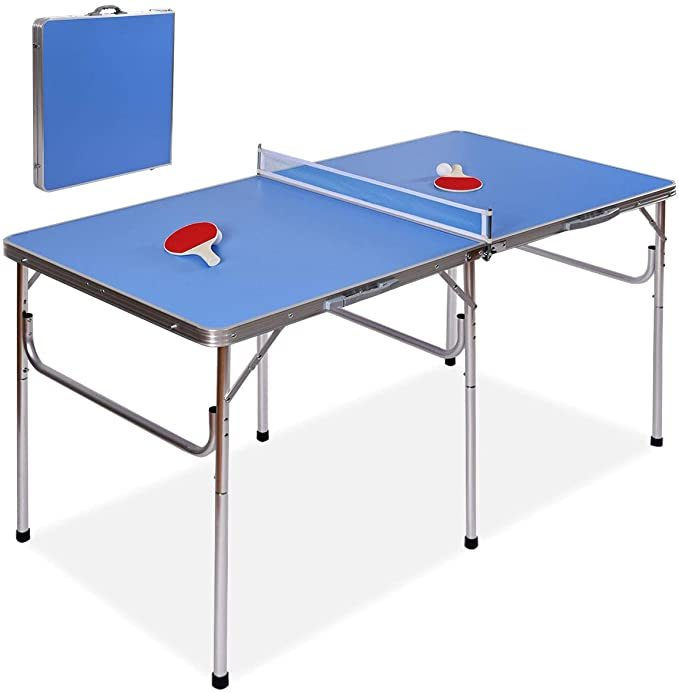 "Goplus 60"" Portable Tennis Table, Folding Ping Pong Table Game Set with Net, 2 Table Tennis Paddles and 2 Ping Pong Balls for Indoor/Outdoor Use"