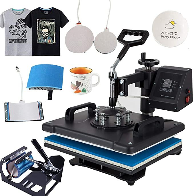 "DREAMVAN Heat Press Machine Transfer DIY Press for T-Shirts,Hat/Cap,Mug and Plate-Heat Platen 12""-by-15"" (kit of 5)"