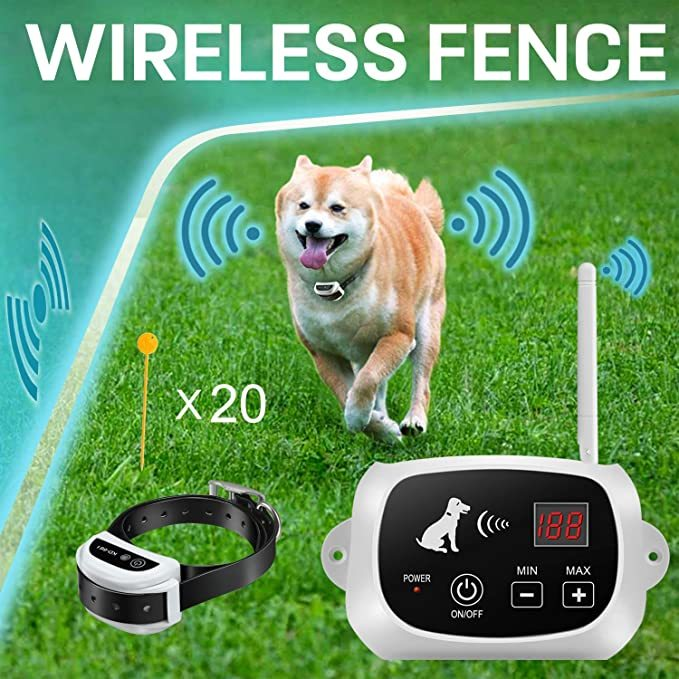 FOCUSER Electric Wireless Dog Fence System, Pet Containment System for 1 Dog and Pets with Waterproof and Rechargeable Dogs Training Collar Receiver Boundary