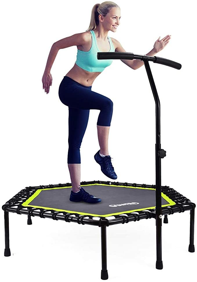 "Newan 40""-48"" Silent Mini Trampoline Fitness Trampoline Bungee Rebounder Jumping Cardio Trainer Workout for Adults - Max Limit 330 lbs"
