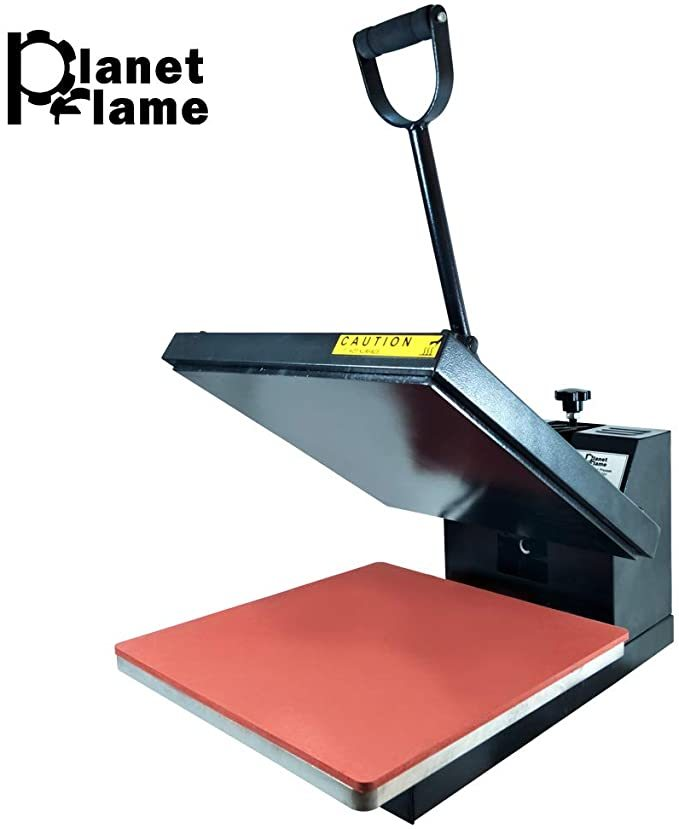 "PlanetFlame Industrial-Quality CE Panel Clamshell Heat Press Machine, Professional T-Shirt Sublimation Plain Heat Transfer Presses Printing Machine 15"" x 15"" (Black)"