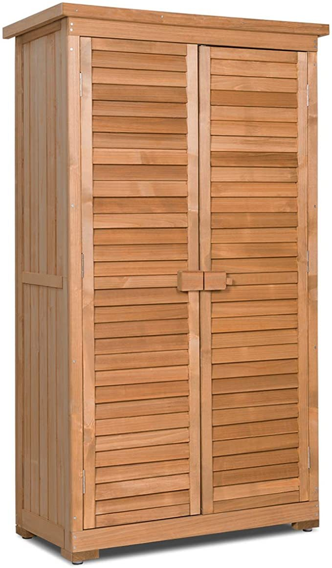 Goplus Outdoor Storage Shed Wooden Shutter Design Fir Wood Lockers for Garden Yard (Natural)