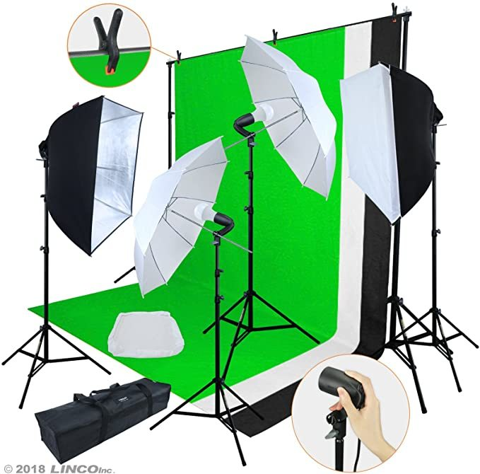 Linco Lincostore LED 3200 Lumens Photo Video Studio Light Kit AM243 - Including 3 Color Backdrops (Black/White/Green) Background Screen