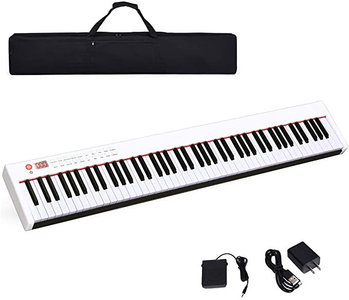 Costzon BX-II 88-Key Portable Touch Sensitive Digital Piano, Upgraded Electric Keyboard with MIDI/USB Keyboard, Bluetooth, Dynamics Adjustment, Sustain Pedal, Power Supply, and Black Handbag (White)