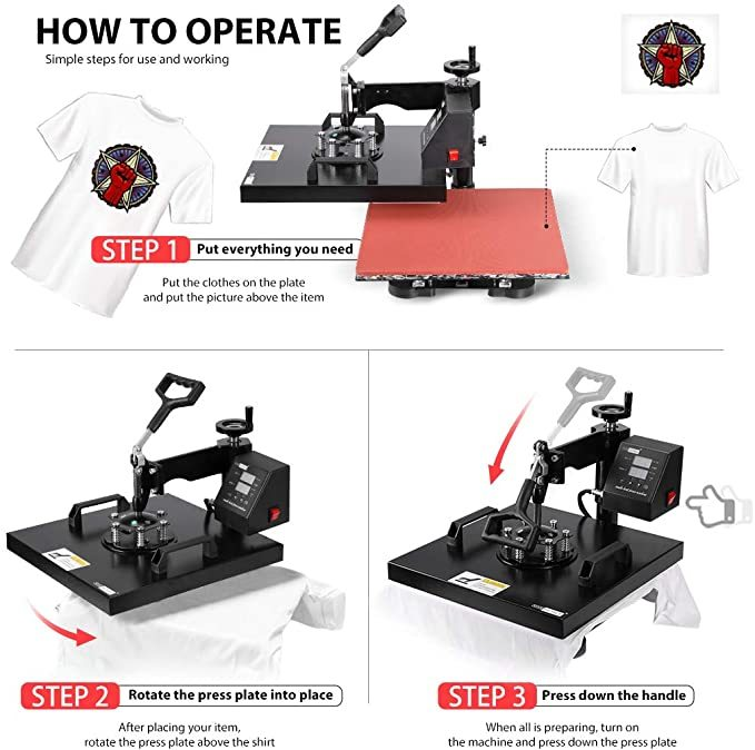 VIVOHOME Swing Away Clamshell Printing Heat Press Transfer Machine for T-Shirt 15 x 15 Inch