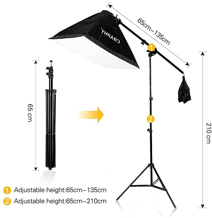 CRAPHY Photography Softbox Lighting Kit 12x45W Studio Continuous Light with 6.5ftx 10ft Background Support System Stand, 3X Backdrops (Green,White,Black) for Portrait, Product and Video Shooting