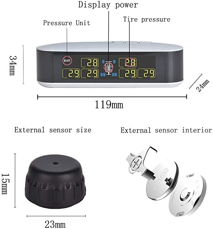 INFITARY RV TPMS Tire Pressure Monitoring System Truck Trailer Real Time Monitor Tire Pressure Temperature Air Leakage Battery Auto Alarm 6 Anti-Theft External Cap Sensor for 4-6 Tires' Car Pickup Tow