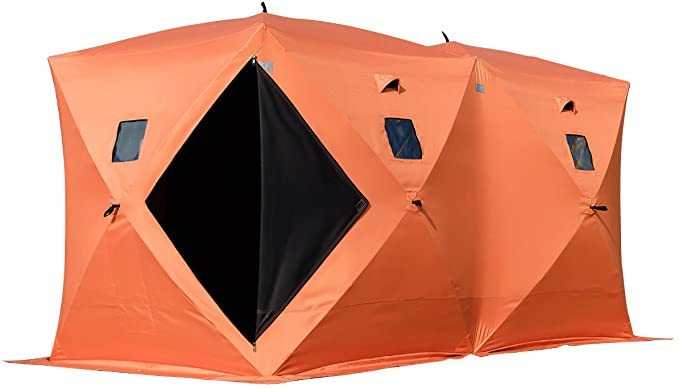 Happybuy Ice Fishing Shelter 2 3 4 8 Person Pop-up Ice Fishing Shelter Waterproof Portable Ice Tent for Outdoor Fishing (Orange for 8 Person)