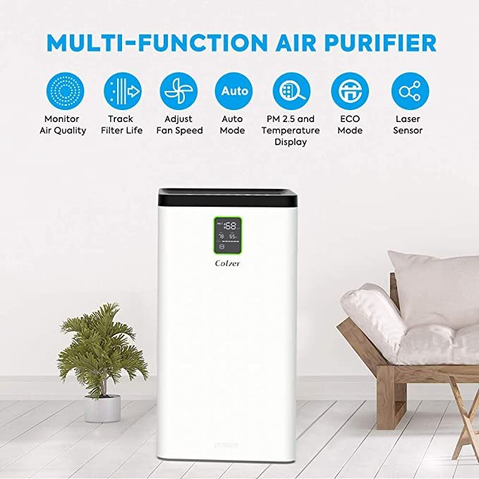 COLZER Air Purifier with True HEPA Air Filter,3-Stage Filtration, for Spaces Up to 900 Sq Ft, Perfect for Bedroom/Home/Office with Filter