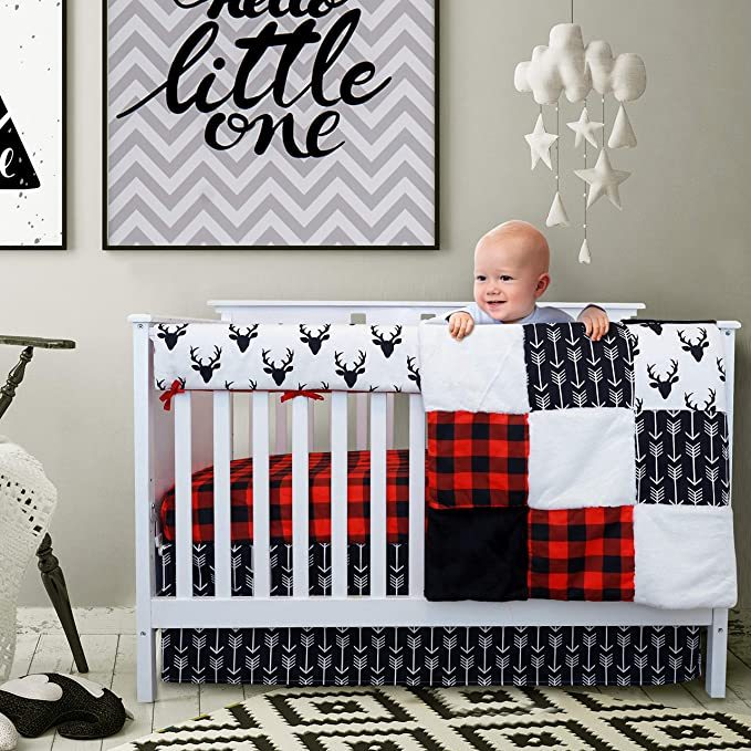 Crib Bedding Sets for Boys - 4 Piece Woodland Set for Baby boy Rustic Nursery Decor | Quilt Blanket, Crib Sheet, Skirt and Rail Cover | Deer Antler, Arrow Buffalo Plaid (Woodland Deer)