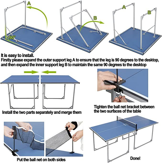 ZENY Foldable Table Tennis Table with Net Portable Ping Pang Tables for Indoor Outdoor Use Regulation Height Tennis Table Set