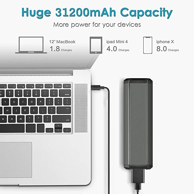 AC Outlet Portable Laptop Power Bank, Universal 116Wh/31200mAh 100W Travel Laptop Charger, External Battery Pack for MacBook, Acer, HP, Samsung, Dell, ASUS, Lenovo, Notebook