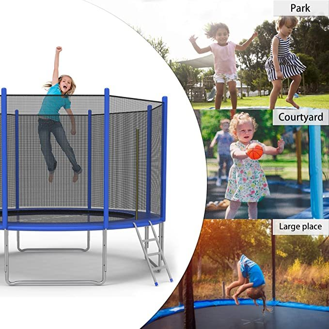 Koreyosh 12FT Trampoline with Safety Enclosure Net and Ladder Bounding Table,Trampoline Combo Jumping Trampoline Fitness for Toddler,Children and Adults,Indoor and Outdoor