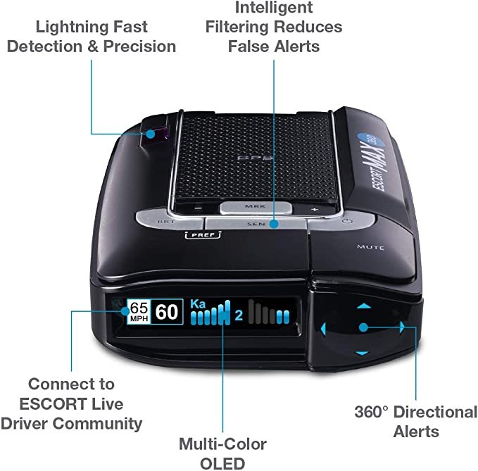 ESCORT MAX360 Laser Radar Detector - GPS, Directional Alerts, Dual Antenna Front and Rear, Bluetooth Connectivity, Voice Alerts, OLED Display, Escort Live