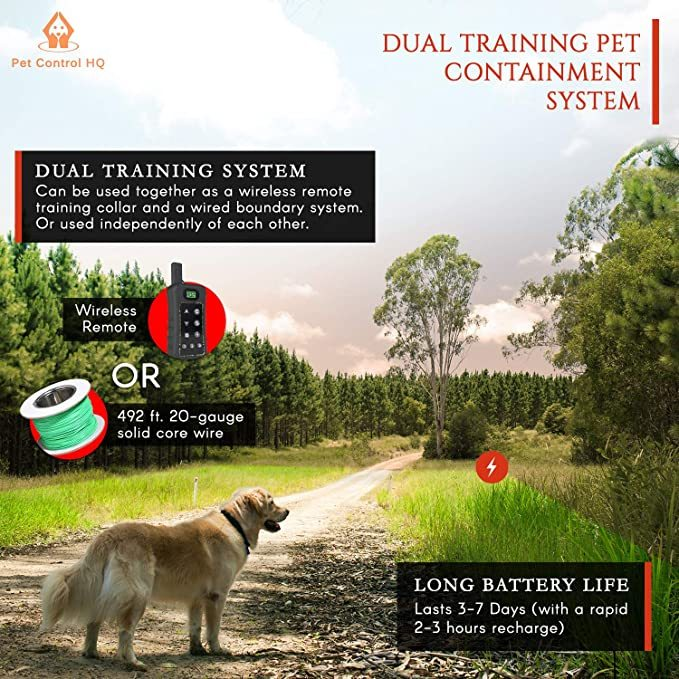 Pet Control HQ Dog Containment System Wireless Perimeter w/ (1 or 2) Shock Collar Kit & Remote - Electric Proximity Fence - Above Ground No Digging, or Underground Wire Outdoor Confinement Trainer