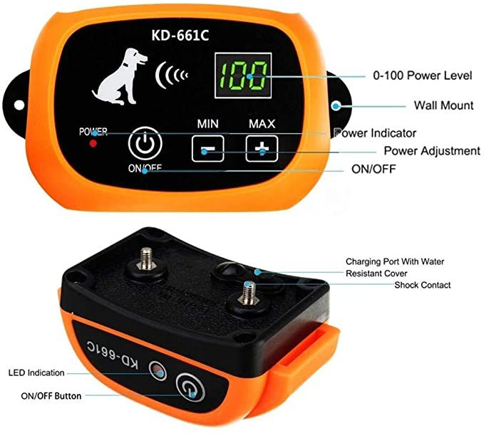 Wireless Dog Fence, Pet Electric Containment System, Safe Effective Beep & Shock Dog Fence with Waterproof Collar, Adjustable Control Range & Display Distance,Electric Pet Fence