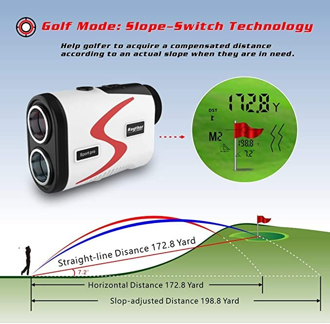 Raythor Golf Rangefinder, 6X Rechargeable Laser Range Finder 1000 Yards with Slope Adjustment, Flag Seeker with Vibration and Fast Focus System, Continuous Scan Support, Help You Choose The Right Club