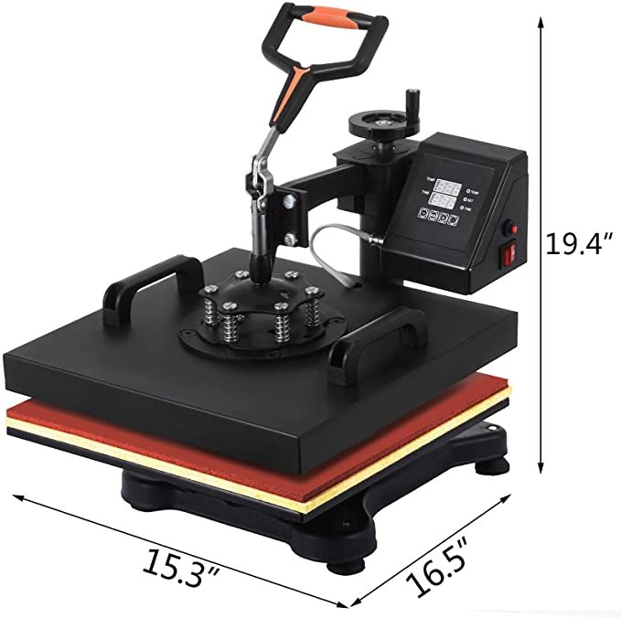 VEVOR Heat Press 12 X 15 Inch Heat Press Machine 5 in 1 Digital Multifunctional Swing Away Heat Press Machine for T Shirts Hat Mug Cap Plate(Gift T-Shirts and Stickers)