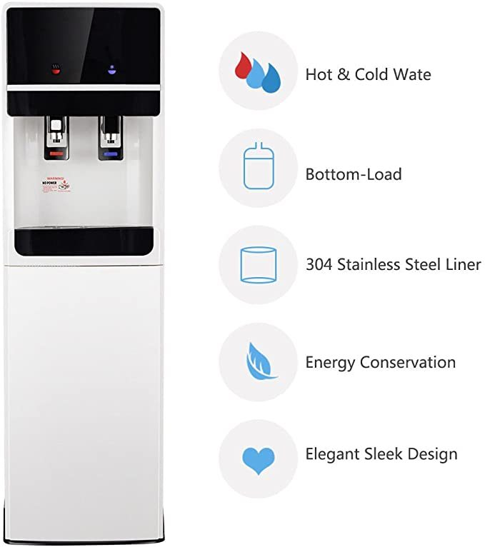 Costway Bottom Loading Water Cooler Dispenser with 2 Temperature Settings, 5 Gallon Hot & Cold Dispenser with Child Safety Lock, Underlying Stainless Steel Ideal for Home/Office, UL Approved