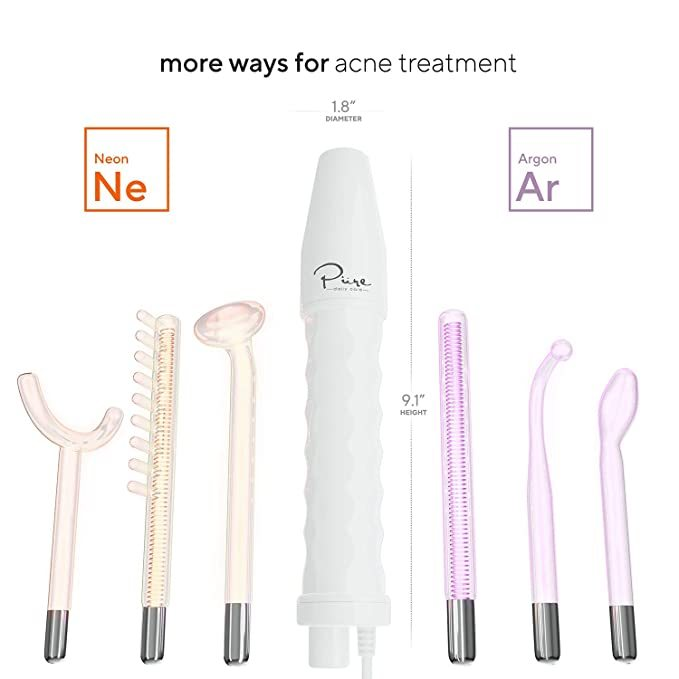 NuDerma Professional Skin Therapy Wand - Portable Handheld High Frequency Skin Therapy Machine with 6 Neon & Argon Wands - Acne Treatment - Skin Tightening - Wrinkle Reducing – Facial Skin Lifter