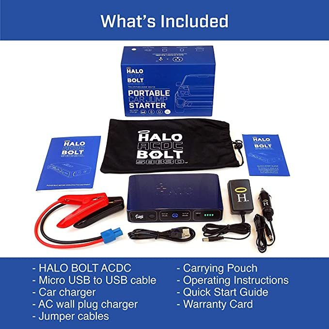 HALO Bolt 58830 mWh Portable Phone Laptop Charger Car Jump Starter with AC Outlet and Car Charger - Blue Graphite