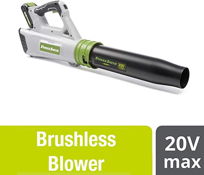 POWERSMITH 20V Lithium Ion Battery Powered Cordless Brushless Motor Leaf Blower