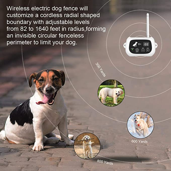 UTOPB Wireless Dog Fence, Electric Wireless Dog Fence System for Dog, Pets Dog Containment System Boundary Container with IP65 Waterproof Dog Training Collar Receiver …