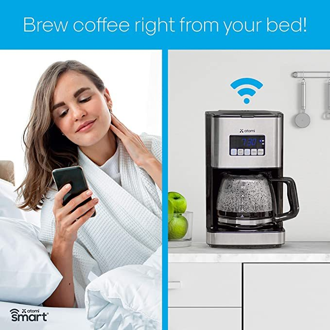 Atomi Smart WiFi Coffee Maker 12 Cup, Black/Stainless Steel, Compatible with Alexa & Google Home, iOS and Android, Control Coffee Maker On/Off Brew by Phone From Anywhere, Reusable Washable Filter