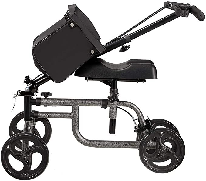 Knee Scooter Steerable Knee Walker Crutch Alternative with Basket and Dual Hand Brake (Black)