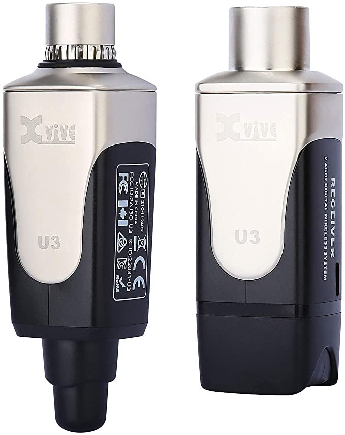 Xvive U3 Plug-on Microphone Wireless System for Dynamic Microphone, Audio Mixer, PA System and DSLR Camera.