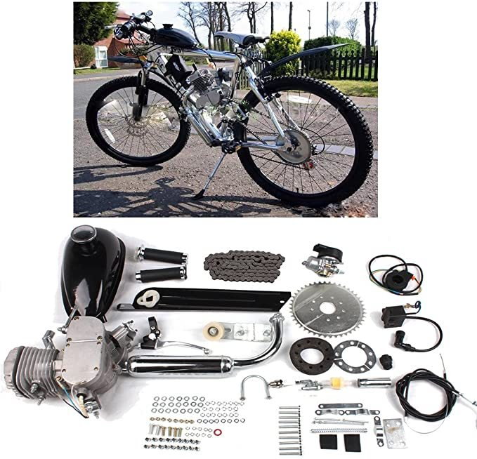 Iglobalbuy 80CC Petrol Gas Motor Bicycle Engine Complete Kit Motorized Bike 2-Stroke