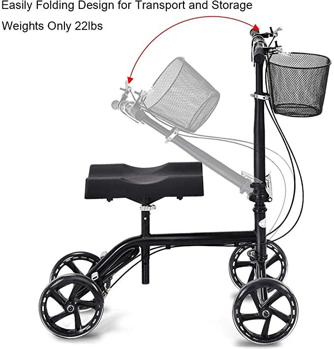 Goplus Steerable Knee Walker Folding Knee Scooter for Broken Leg, Foot Injuries, Height Adjustable, with Orthopedic Seat Pad, Deluxe Brake System and Basket, Crutch Alternative Knee Wheeler (Standard)