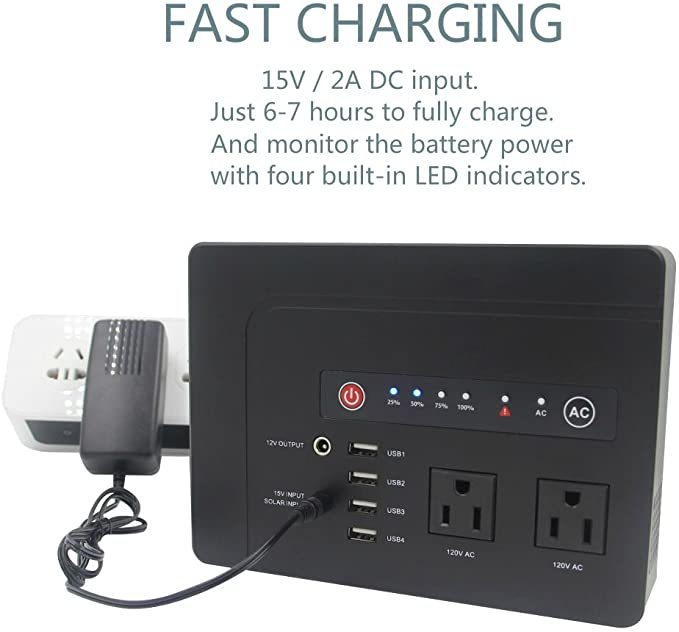 Powkey 200Watt Portable Power Bank with AC Outlet for Camping 42000mAh Power Supply for CPAP ,2 AC Ports, 4 USB Ports, 2 DC Port