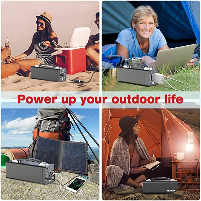 NEXPOW Portable Power Station, 178Wh Solar Generator Lithium Polymer Battery Emergency Backup Portable Power Source with 110V/120W(Peak 150W) AC Inverter Outlet, USB-C PD 3.0, for Outdoors Camping