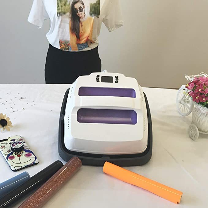 Heat Press Machine 9 X 9 inches Portable T-Shirt Press Printing Machine Multifunction Transfer Iron on Machine Professional Digital Heat Press Purple